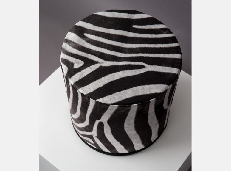 zaismingo dizaino spalvingas pufas su zebro rastais 1