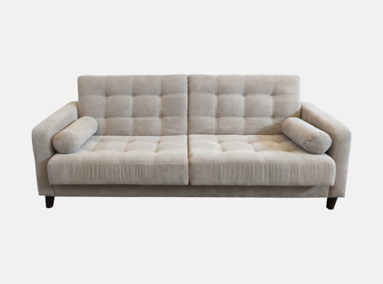 Sofa lova Bek 2 su ovaliomis pagalvėlėmis, aukštomis medinėmis kojelėmis
