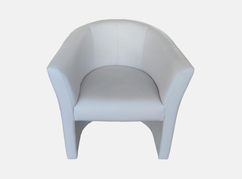 Baltos spalvos minimalus fotelis Amelia