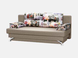 Sofa lova ant kojelių su nuimamais dekoratyviniais porankiais ir pagalvėlėmis. Sofa su patalynės dėže