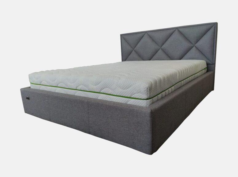 Dvigulė pilkos spalvos 160x200 cm lova, stabili pagaminta iš kokybiškų medžiagų lova lids su pneumatiniais amortizatoriais