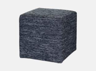 Pilkos spalvos kvadratinis pufas, pagamintas iš kokybiško gobeleno