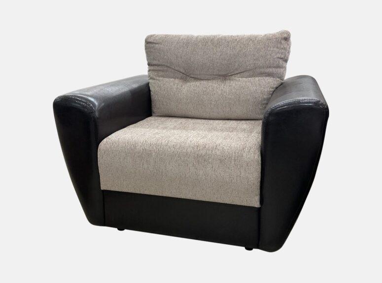 Reloti soft - pilkos spalvos fotelis su juodos spalvos eko odos porankiais. Ypatingai aukšta kokybė, priimame išankstinius užsakymus.