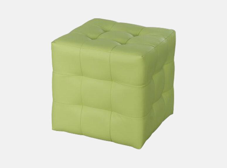 Žalios spalvos eko odos pufas su dygsniuotomis siūlėmis