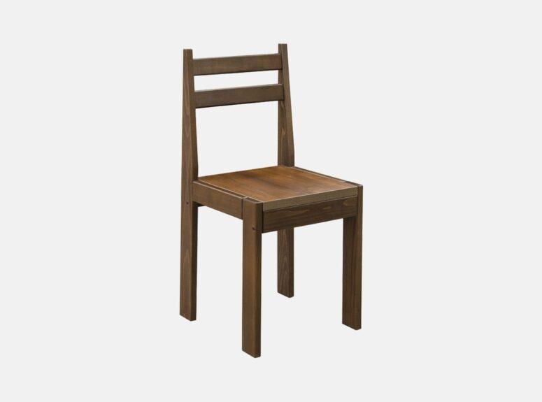 aukštos kokybės minimalaus dizaino buko medienos valgomojo kėdė twist, riešuto spalva