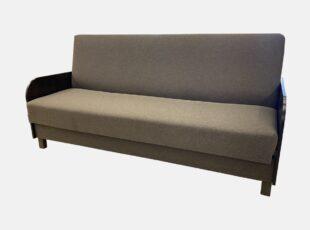 Pilkos spalvos Kompakt sofa lova su patalynės dėže ir mediniais porankiais