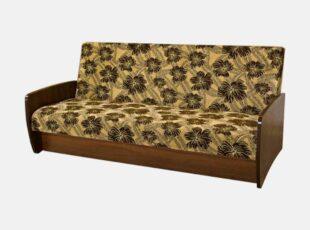 Senovinio stiliaus medinė rudos spalvos ir žalio raštuoto audinio svetainės sofa-lova su automatiniu išskleidimu