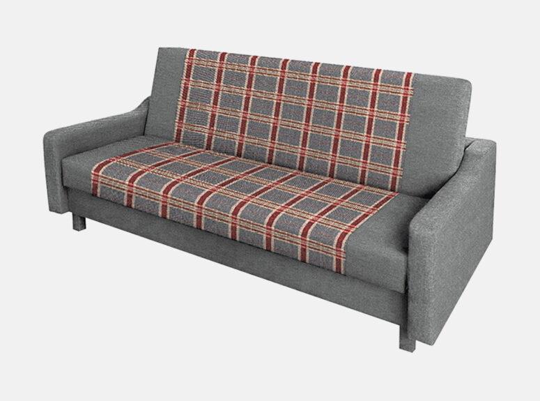 Pilkos spalvos sofa lova su medinėmis kojelėmis, patalynės dėže ir miegamąja dalimi