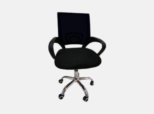 Juodos spalvos darbo kėdė Spider su ratukais ir tiltiniu mechanizmu