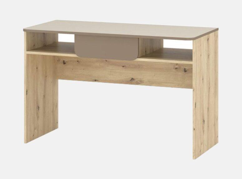 Mininmalistinio dizaino, sonoma ąžuolo ir šampano spalvos darvo stalas su vienu stalčiumi