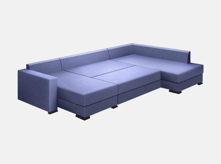 Didelis mėlynos spalvos U formos minkštas kampas su delfino išskleidimo mechanizmu miegui. Kampas su dviem patalų dėžėmis.