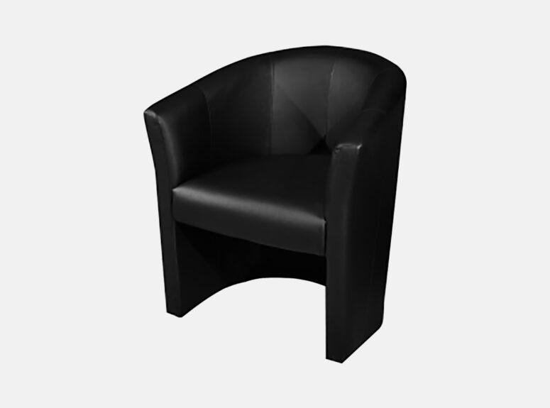 Juodos spalvos minimalus fotelis Amelia
