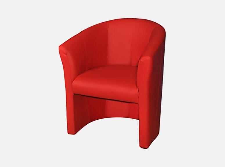 Raudonos spalvos minimalus fotelis Amelia