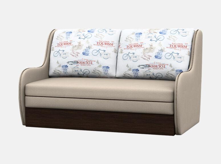 Junior - žaisminga, nedidelė, funkcionali smėlio spalvos sofa-lova su žaismingomis raštuotomis pagalvėmis