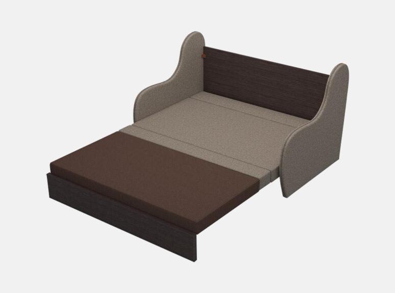 Junior - žaisminga, nedidelė sofa-lova su žaismingomis raštuotomis pagalvėmis