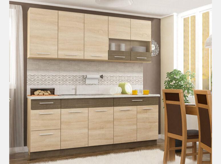 Dviejų metrų ilgio, sonoma ąžuolo spalvos virtuvės spintelių komplektas, virtuvė gali būti komplektuojama.