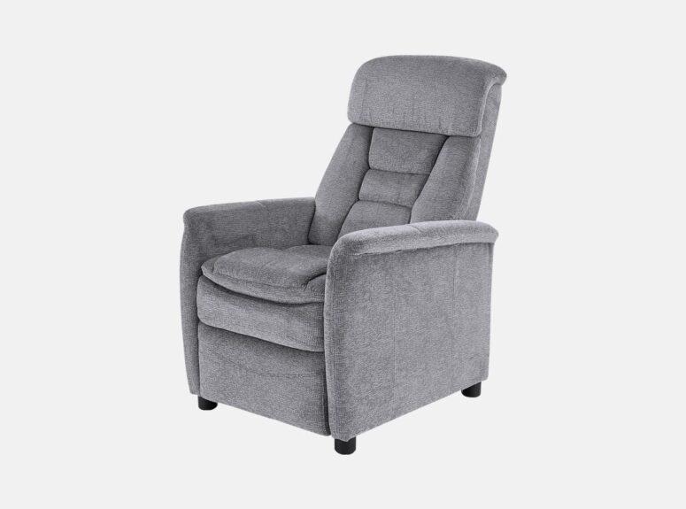 Jordan - pilkos spalvos modernus fotelis reglaineris su kojų pakėlimo mechanizmu ir plastikinėmis kojelėmis.