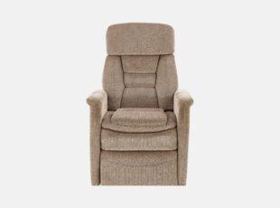 Jordan - smėlio spalvos modernus fotelis reglaineris su kojų pakėlimo mechanizmu ir plastikinėmis kojelėmis.