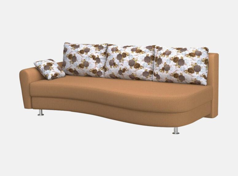 lengvai sulankstoma klasikine rudos spalvos sofa lova fortuna su patalu deze, pagalvės puoštos gėlių raštais