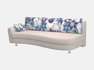 lengvai sulankstoma klasikine smėlio spalvos sofa lova fortūna su patalu dėže, pagalvės puoštos mėlynų gėlių raštais