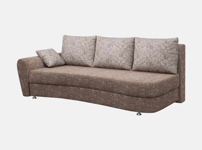 lengvai sulankstoma klasikine rudos spalvos sofa lova fortuna su patalu deze, paga;vės puoštos rožių raštais