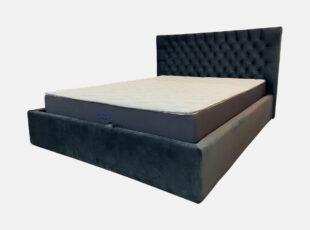 Dvigulė tamsiai pilkos spalvos veliūrinė 160x200 cm lova, stabili pagaminta iš kokybiškų medžiagų lova lids su pneumatiniais amortizatoriais