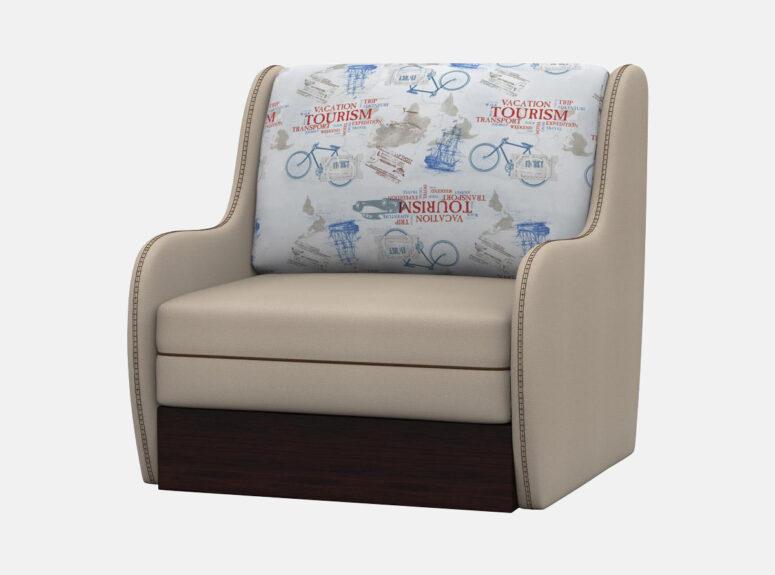 Vienvietis smėlio spalvos miegamasis foteliukas su patalynės dėže. Foteliukas su raštuota pagalvėle Turizmas
