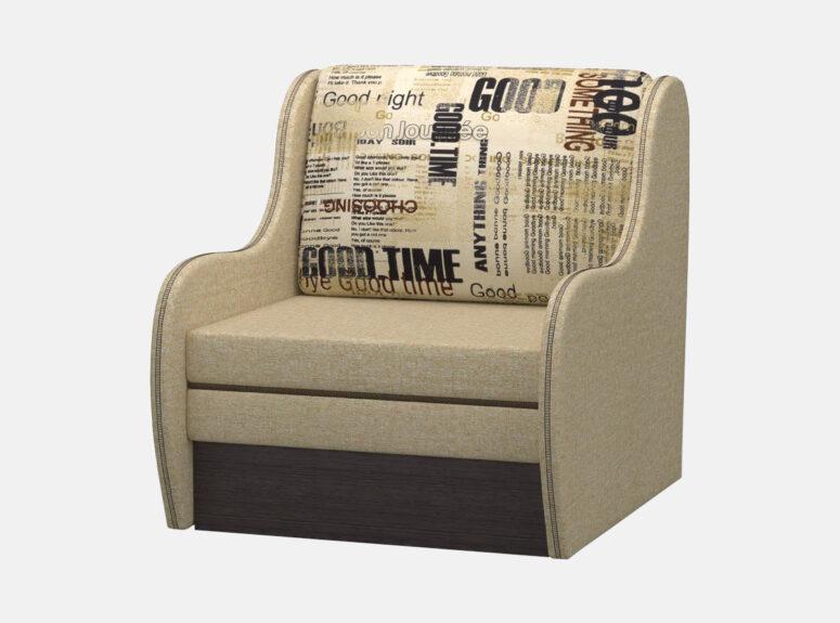 Vienvietis smėlio spalvos miegamasis foteliukas su patalynės dėže. Foteliukas su raštuota pagalvėle