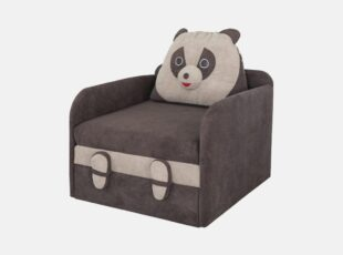 Tamsiai rudos spalvos vaikiškas miegamasis fotelis junior panda su zig zag spyruoklėmis ir aukšto elastingumo putų poliuretanu