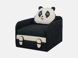 Juodos spalvos vaikiškas miegamasis fotelis junior panda su zig zag spyruoklėmis ir aukšto elastingumo putų poliuretanu