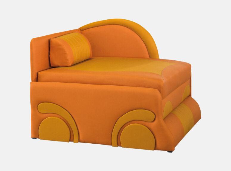 Geltonos spalvos vaikiškas miegamasis fotelis junior mašinytė su zig zag spyruoklėmis ir aukšto elastingumo putų poliuretanu