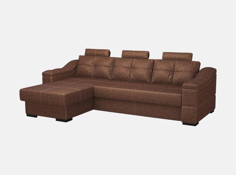Didelis tamsiai rudos spalvos, erdvus minkštas kampas Prestiž, pagamintas iš aukštos kokybės eko odos. M