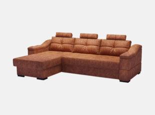 Didelis rudos spalvos, erdvus minkštas kampas Prestiž, pagamintas iš aukštos kokybės eko odos. Minkštas kampas su miegojimo funkcija ir patalų dėže