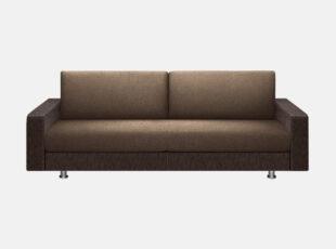 Palermo - kokybiška erdvi sofa-lova su kojelėmis. Rudos spalvos sofa lova su tamsiai rudos eko odos porankiais.