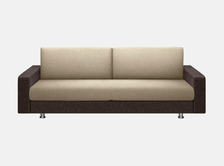 Palermo - kokybiška erdvi sofa-lova su kojelėmis. Šviesiai rudos spalvos sofa lova su eko odos porankiais.