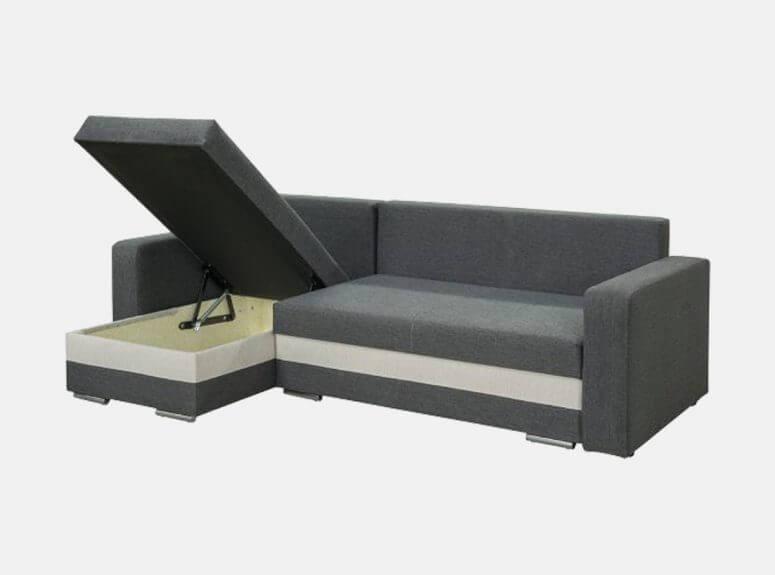 Dailus pilkos spalvos minkštas kampas su plačia miegamąja dalimi ir šviesiai pilkos spalvos akcentais