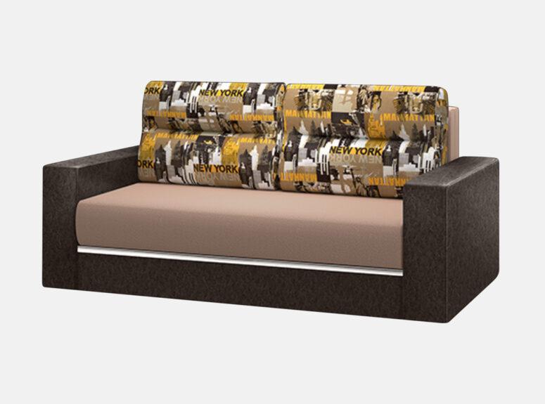 Rudos spalvos miegamasis fotelis su rudos spalvos eko odos porankiais ir New York miesto emblemomis
