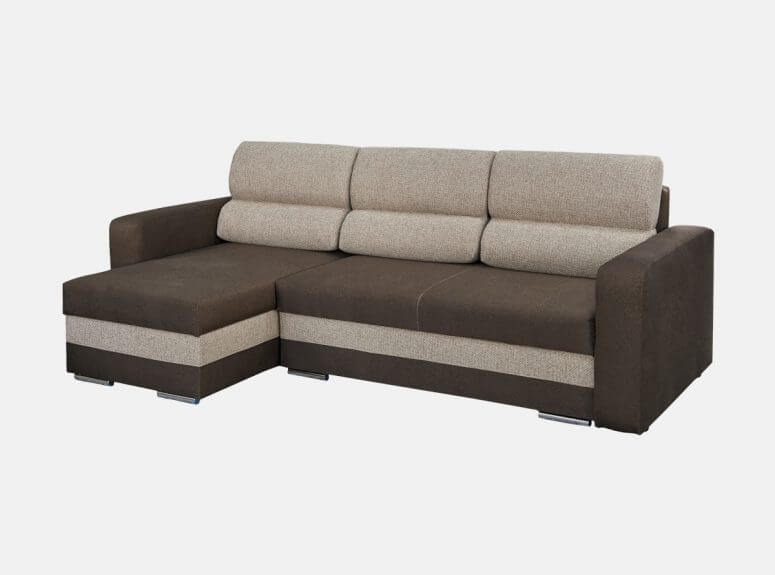Modernus tamsiai rudos spalvos minkštas kampas su plačia miegamąja dalimi ir šviesiai pilkos spalvos akcentais
