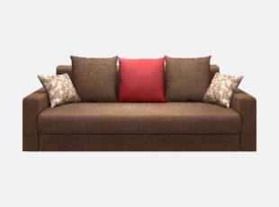Rudos spalvos stilinga sofa-lova su ryškia raudona pagalve ir veliūrinėmis mažomis pagalvėlėmis. Sofa su miegojimo funkcija ir patalynės dėže