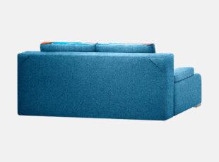 Mėlynos spalvos sofa lova su Venecijos miesto paveiksliuku, nuimamamis porankiais ir patalynės dėže