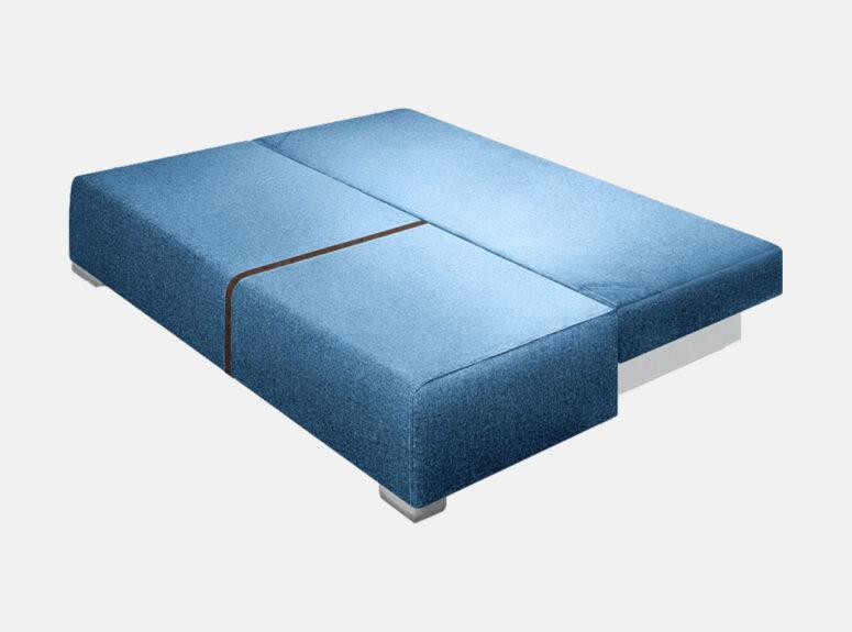 Mėlynos spalvos sofa lova su Venecijos miesto paveiksliuku, nuimamais porankiais ir patalynės dėže