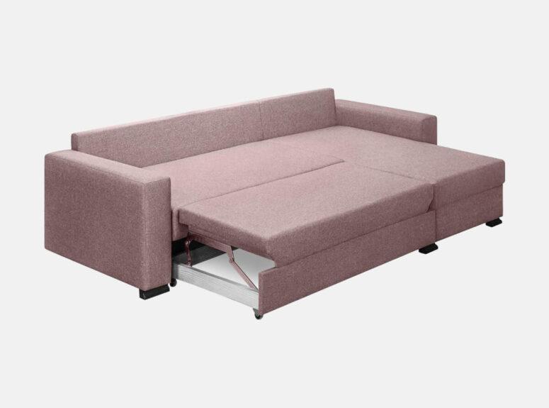 Šiuolaikiško dizaino rusvos spalvos minkštas kampas Riči su medinėmis kojelėmis, patalų dėže ir plačia miegamąja dalimi