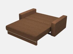 Rudos spalvos sofa lova prima su raštuotomis pagalvėmis, patalynės dėže ir miegojimo funkcija