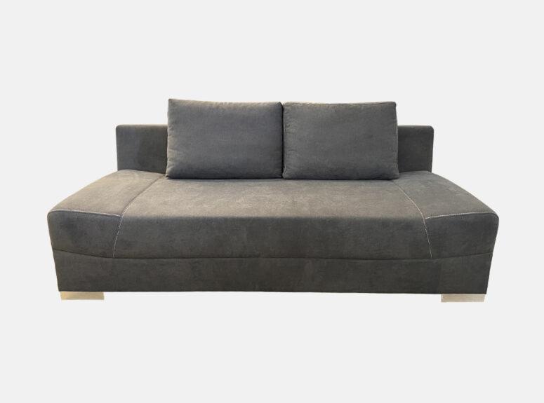 Pilkos spalvos, veliūrinio audinio sofa lova vigo su talpia patalynės dėže ir bonel spyruoklėmis