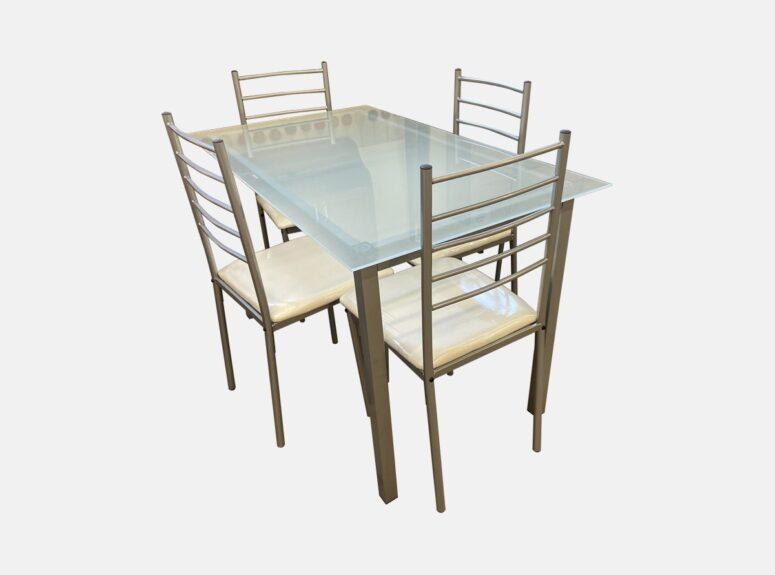 stiklinis stalas ir keturios kedes foshan