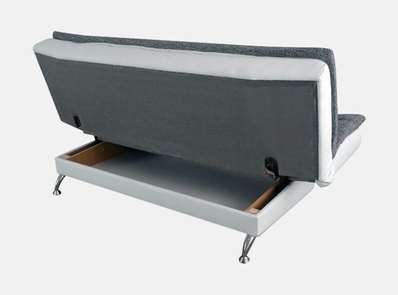 Zenit - Pilkos spalvos sofa-lova su aukštomis metalinėmis kojelėmis, plačia miegamąja dalimi, patalynės dėže ir automatiniu išskleidimu.