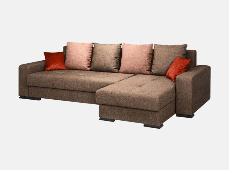 Santa ryškus minkštas svetainės kampas su spalvingomis pagalvėlėmis. Kampas su patalynės dėže ir miegojimo funkcija