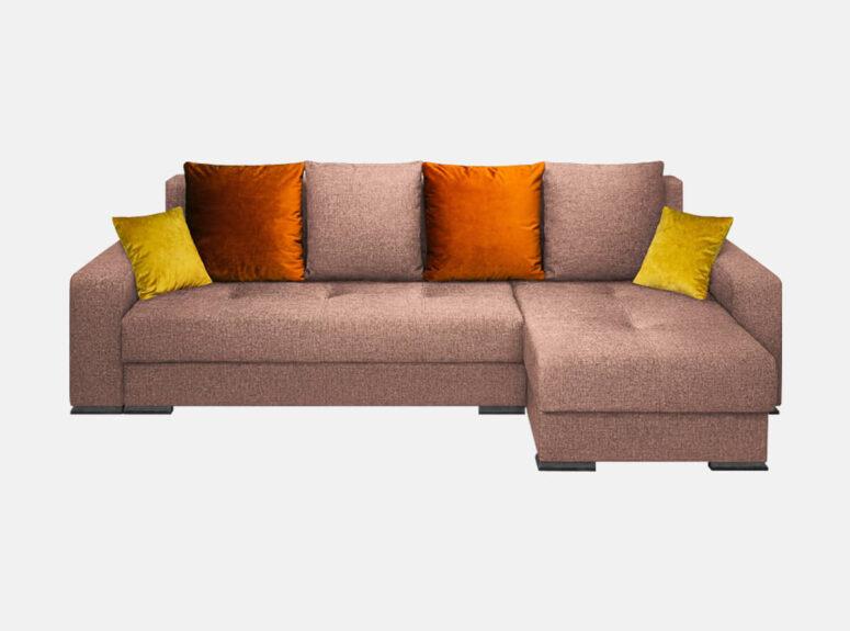 Aukštos kokybės patvarus kampas su ryškiomis pagalvėlėmis, plačia miegamąja dalimi