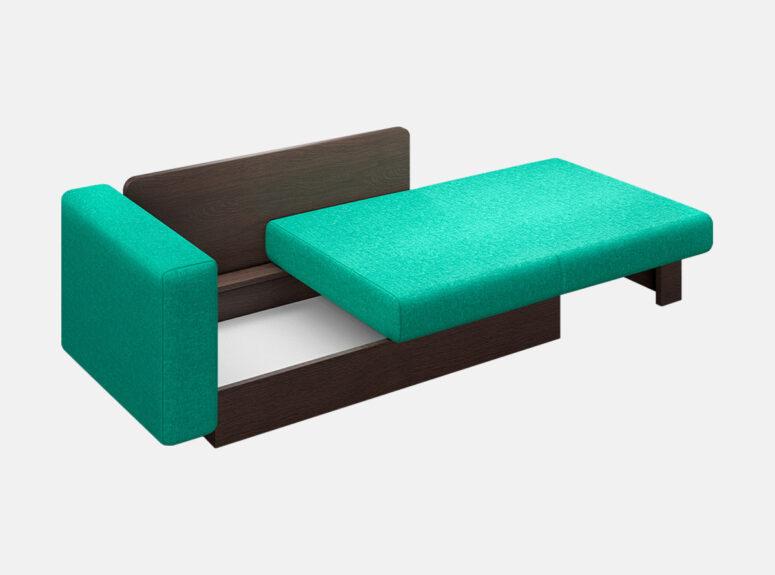 Maža daili žalios ir rudos spalvos kušetė Martin su miegojimo išskleidžiamu mechanizmu ir patalynės dėže