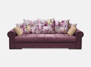 Violetinės spalvos sofa lova su spalvotomis ryškiomis pagalvėmis ir veliūrinėmis pagalvėlėmis. Sofa su patalynės dėže